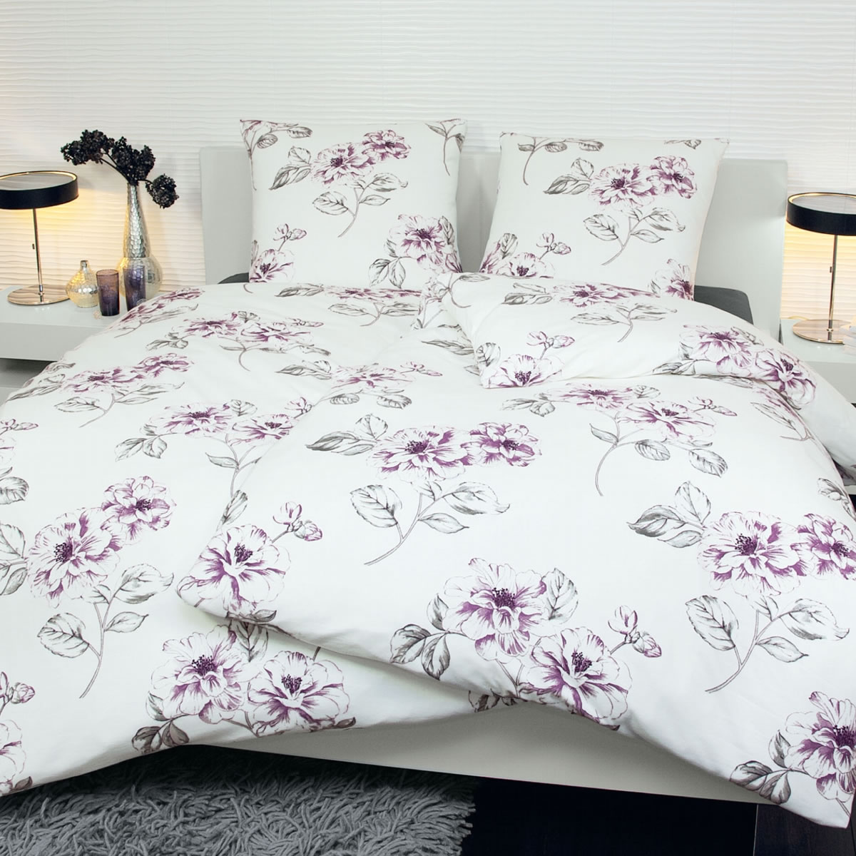janine edel flanell bettw sche chinchilla 155x220 cm 7559 05 blumen. Black Bedroom Furniture Sets. Home Design Ideas