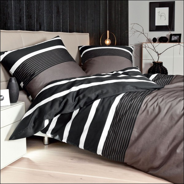janine j d mako satin bettw sche design 8468 07 wei nougat schwarz gestreift. Black Bedroom Furniture Sets. Home Design Ideas