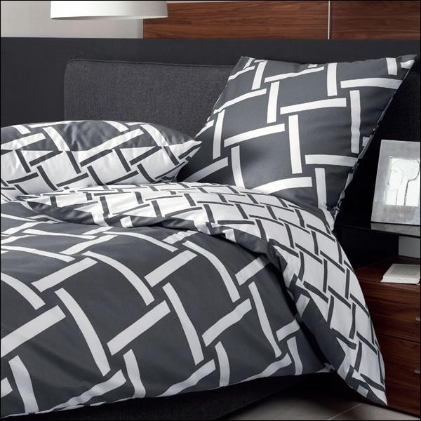janine mako satin wende bettw sche j d design 8480 48 graphit wei grau titan ebay. Black Bedroom Furniture Sets. Home Design Ideas