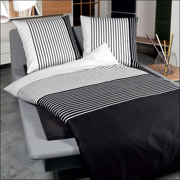 janine mako satin bettw sche j d design 8482 08 schwarz wei gestreift modern ebay. Black Bedroom Furniture Sets. Home Design Ideas