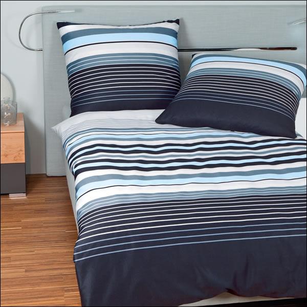 janine mako satin bettw sche j d design 87012 02 blau schwarz wei gestreift ebay. Black Bedroom Furniture Sets. Home Design Ideas