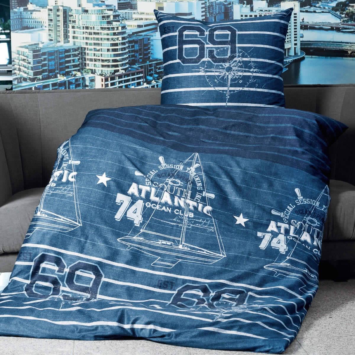 Janine Mako Satin Bettwäsche Jd 87027 02 Blau Marine Weiß Maritim