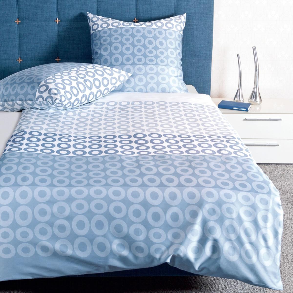 Janine Mako Satin Bettwäsche Jd 87029 02 Blau Weiß Kreise