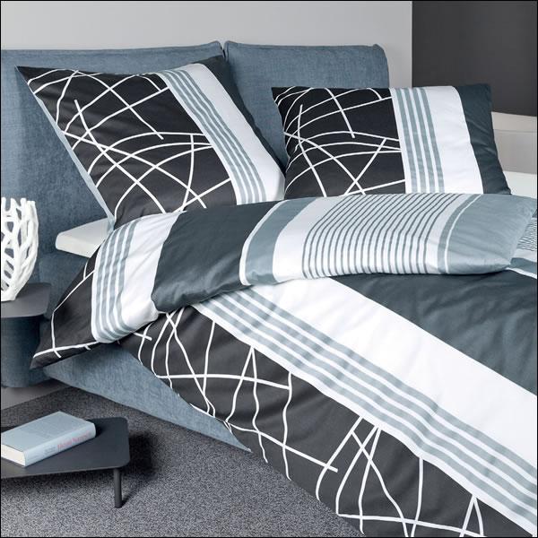 janine mako satin bettw sche j d design 87032 02 jeans blau modern streifen ebay. Black Bedroom Furniture Sets. Home Design Ideas