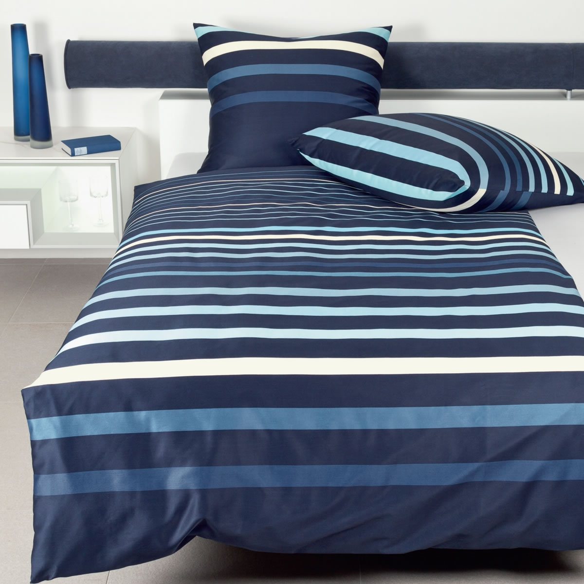 Janine Mako Satin Bettwäsche Jd Design 87033 02 Blau Gestreift