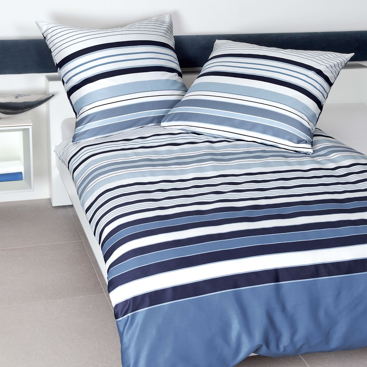 Janine Mako Satin Bettwäsche Jd Design 87040 02 Blau Weiß Gestreift