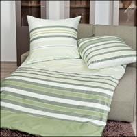 Janine Mako Satin Bettwäsche J.D. Design 87040-06 grün weiß gestreift