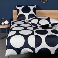 Janine Mako Satin Bettwäsche J.D. Design 87057-02 nachtschattenblau weiß