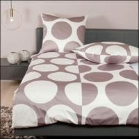 Janine Mako Satin Bettwäsche J.D. Design 87057-07 taupe braun weiß Kreise