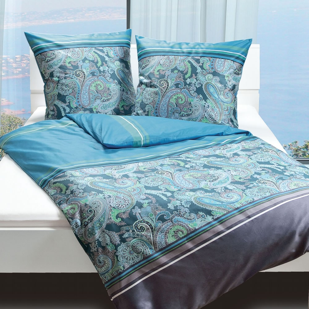 janine mako satin bettw sche 155x220 cm moments 9012 02 aqua paisley. Black Bedroom Furniture Sets. Home Design Ideas
