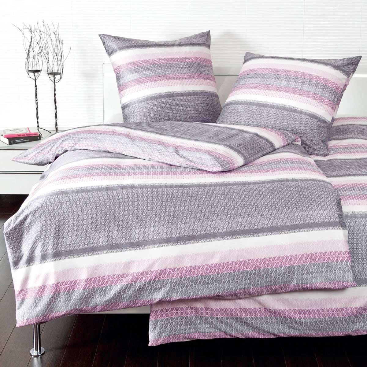 bettw sche pink grau bettw sche bestickt schlafzimmer. Black Bedroom Furniture Sets. Home Design Ideas