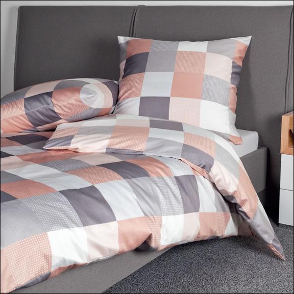 janine mako satin bettw sche moments 98025 01 puderrouge sand grau kariert karo ebay. Black Bedroom Furniture Sets. Home Design Ideas