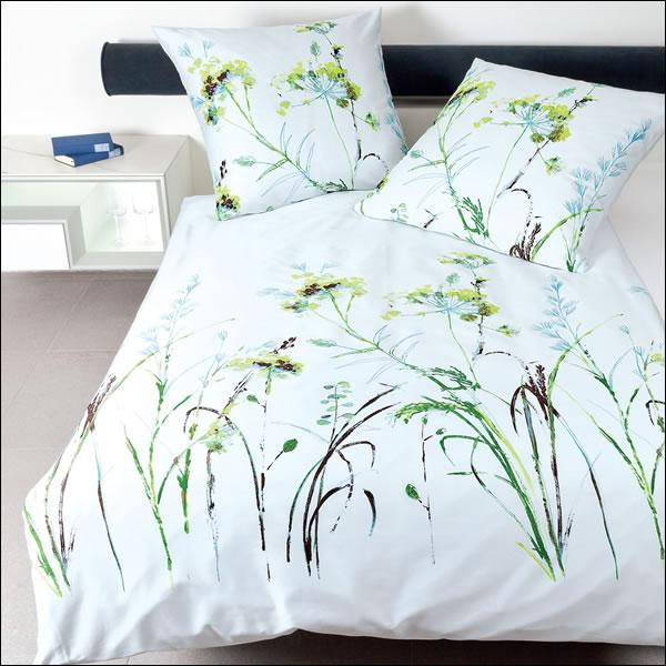 janine mako satin bettw sche moments 98030 06 gr n aqua gr ser bl tter bl ten ebay. Black Bedroom Furniture Sets. Home Design Ideas