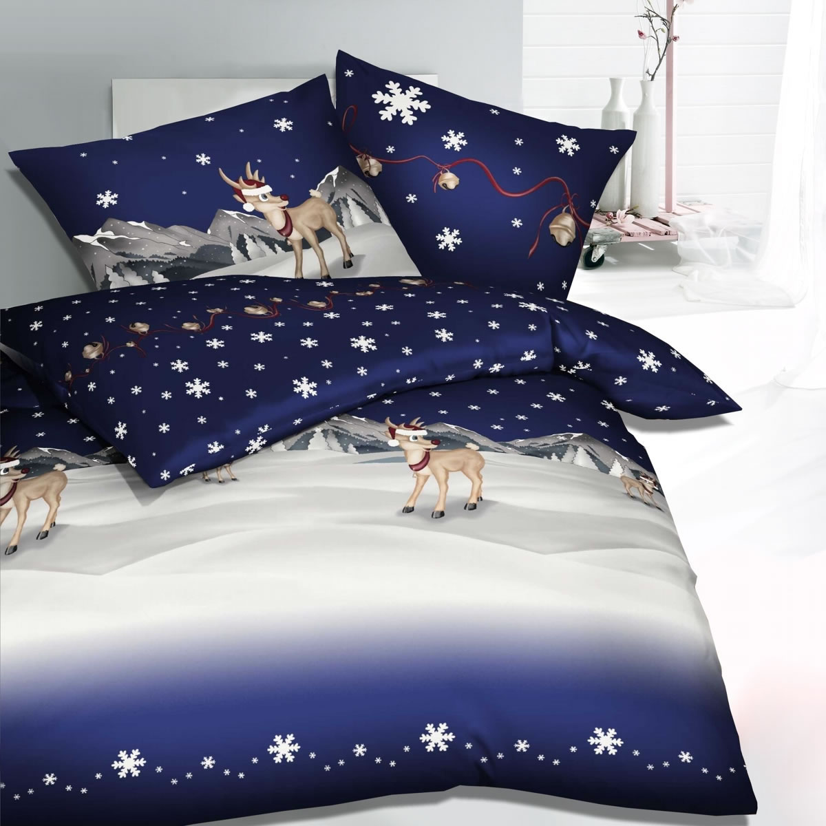 kaeppel biber bettw sche 155x220 cm design 3251 winterwonderland blau. Black Bedroom Furniture Sets. Home Design Ideas