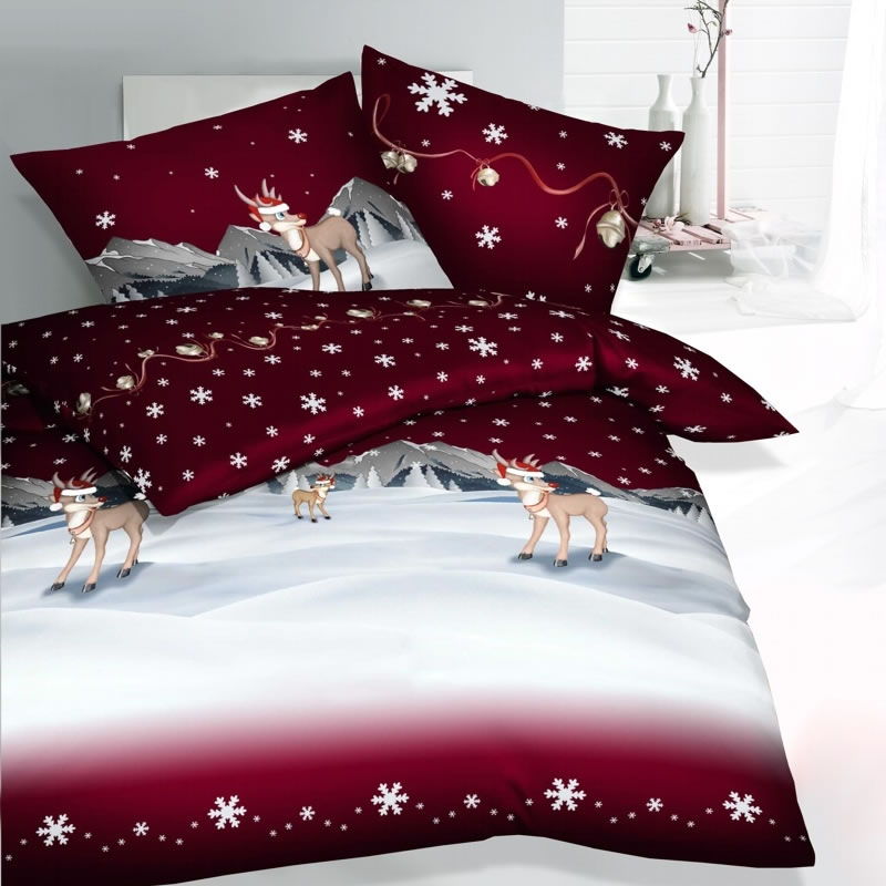 kaeppel fein biber bettw sche 135x200 cm winterwonderland 3252 rot. Black Bedroom Furniture Sets. Home Design Ideas