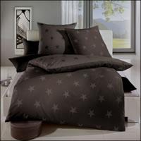 Kaeppel Biber Wende-Bettwäsche Design Stars 3276 braun Sterne