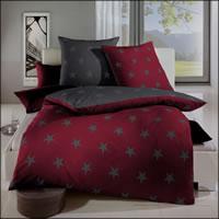 Kaeppel Mako Satin Wende-Bettwäsche Design Stars 32742 rubin Sterne