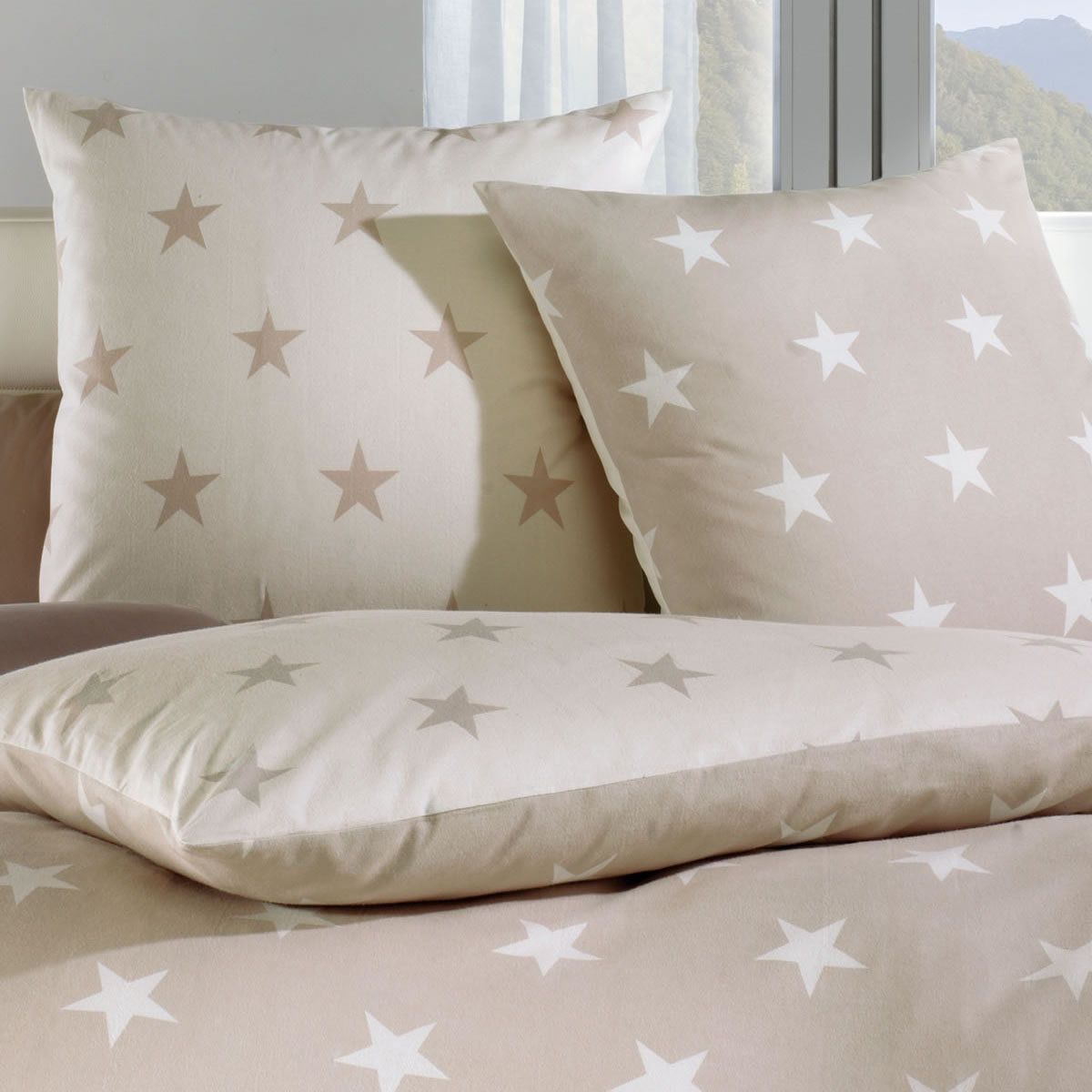 kaeppel biber wende bettw sche design stars natur 32746 sterne. Black Bedroom Furniture Sets. Home Design Ideas