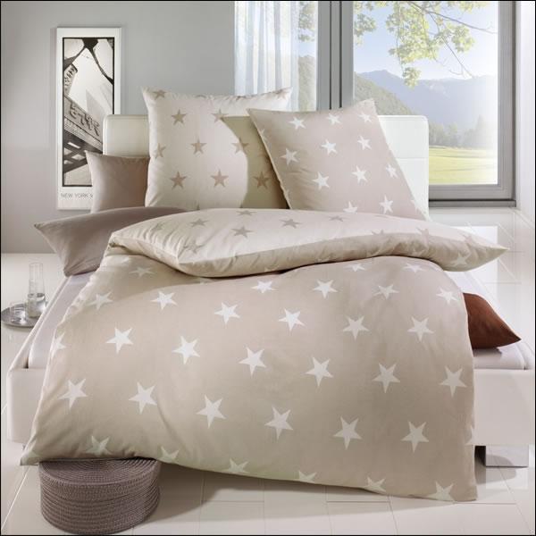 Kaeppel Biber Wende Bettwäsche 155x220 Cm Stars 32746 Beige Natur