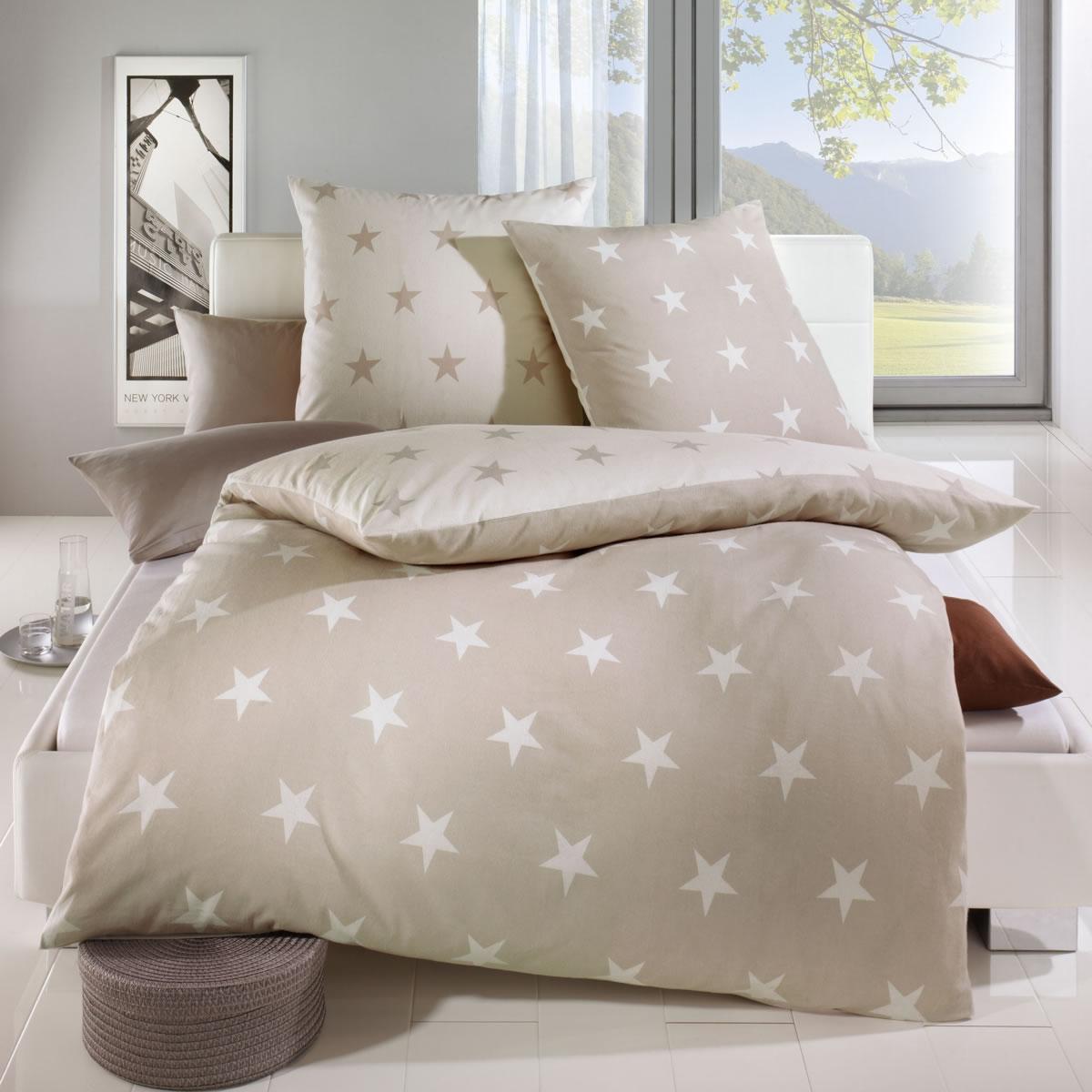 Kaeppel Biber Wende Bettwäsche Design Stars Natur 32746 Sterne