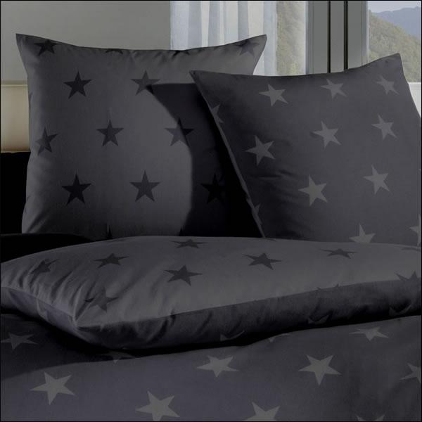 Kaeppel Fein Biber Wende Bettwäsche Stars 32779 Zinn Titan Grau