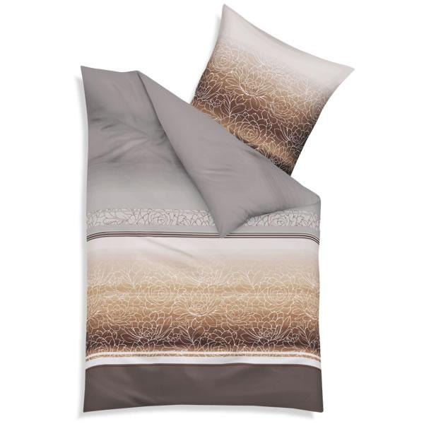 kaeppel biber bettw sche divine in 135x200 cm 54226 mocca blumen braun silber. Black Bedroom Furniture Sets. Home Design Ideas