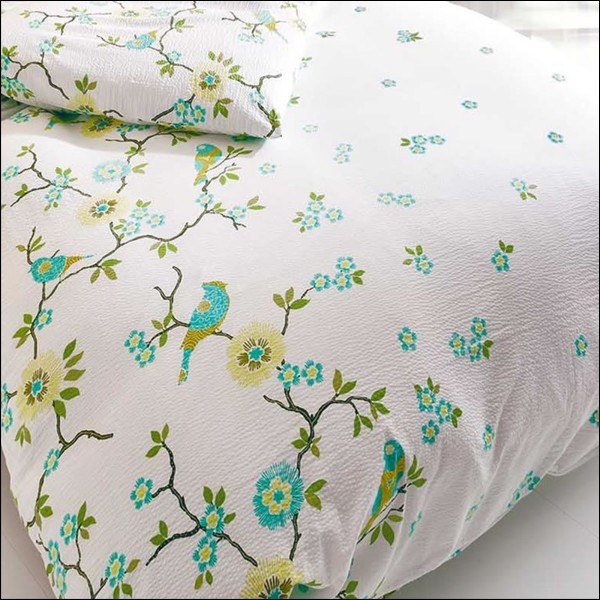 kaeppel seersucker bettw sche 155x220 cm feng shui 5743 wei gr n blumen v gel ebay. Black Bedroom Furniture Sets. Home Design Ideas