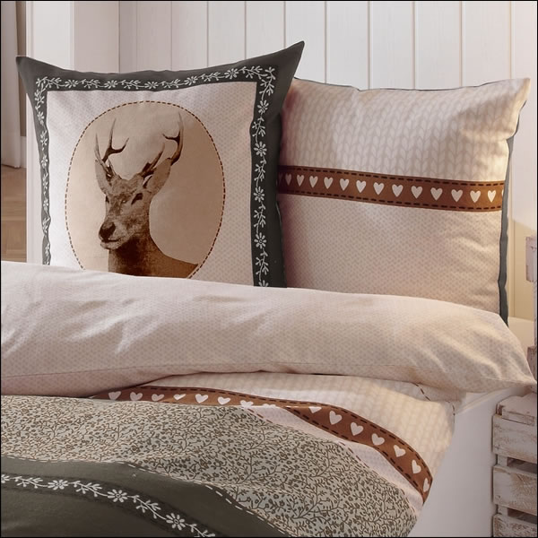 kaeppel biber bettw sche 155x220 cm design 5796 oh deer braun taupe natur hirsch ebay. Black Bedroom Furniture Sets. Home Design Ideas