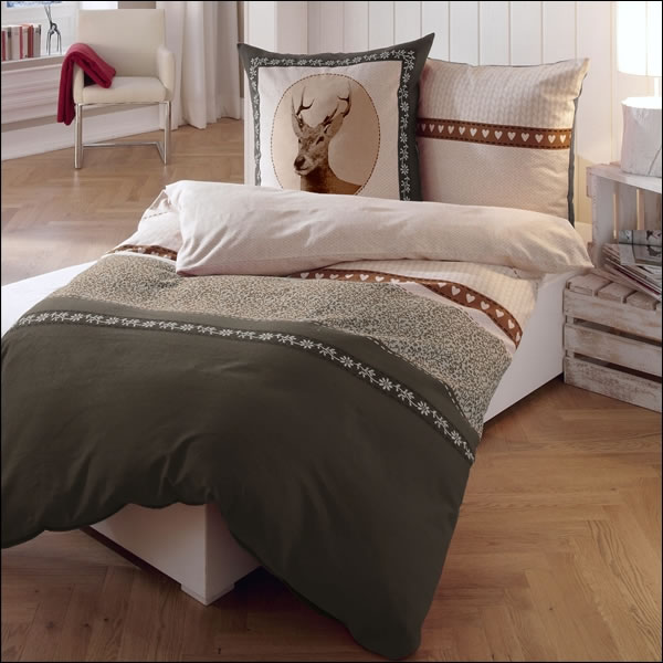 kaeppel biber bettw sche 155x220 cm design 5796 oh deer braun taupe natur hirsch. Black Bedroom Furniture Sets. Home Design Ideas