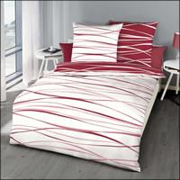 Kaeppel Perkal Wende-Bettwäsche Motion 58432 karmin rot weiß gestreift