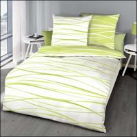 Kaeppel Perkal Wende-Bettwäsche Motion 58473 kiwi grün weiß gestreift