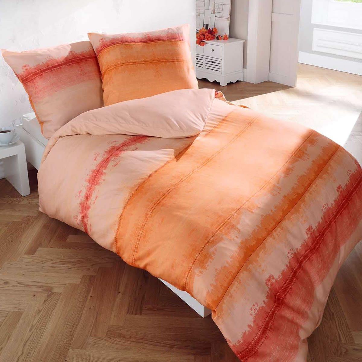Kaeppel Biber Bettwäsche 155x220 Cm Design 6047 Echo Orange