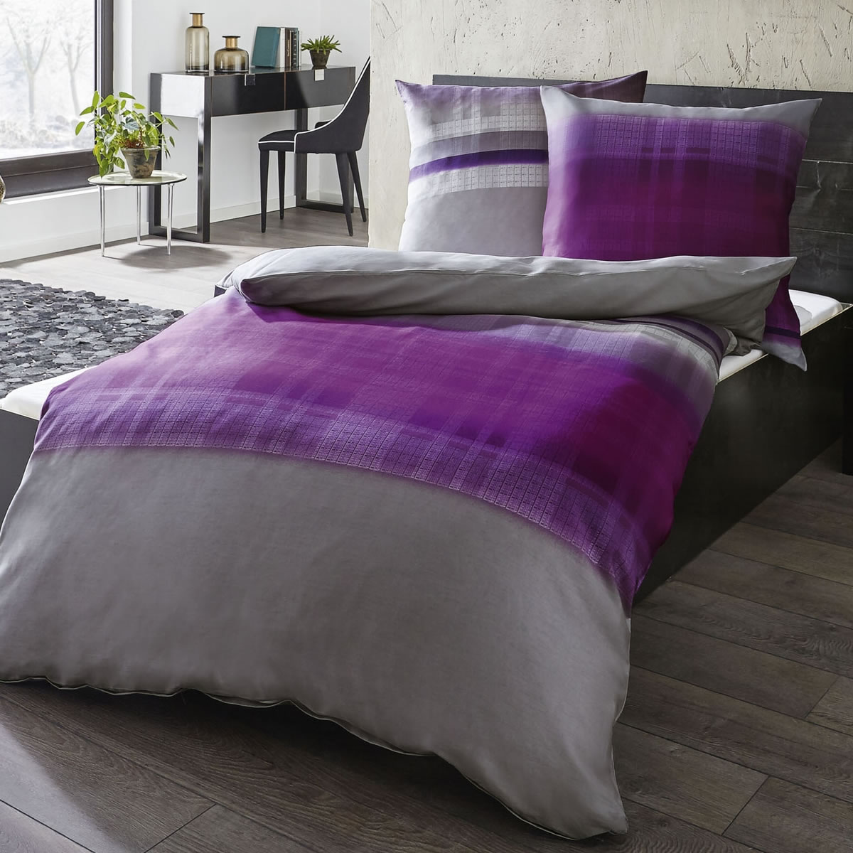 kaeppel mako satin bettw sche 135x200 cm trace 61055 aubergine lila. Black Bedroom Furniture Sets. Home Design Ideas