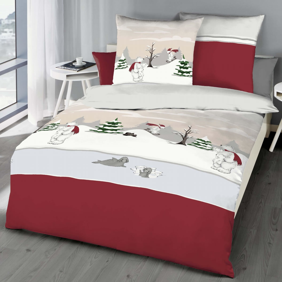 kaeppel biber bettw sche 155x220 cm design 6252 eisb r rot. Black Bedroom Furniture Sets. Home Design Ideas
