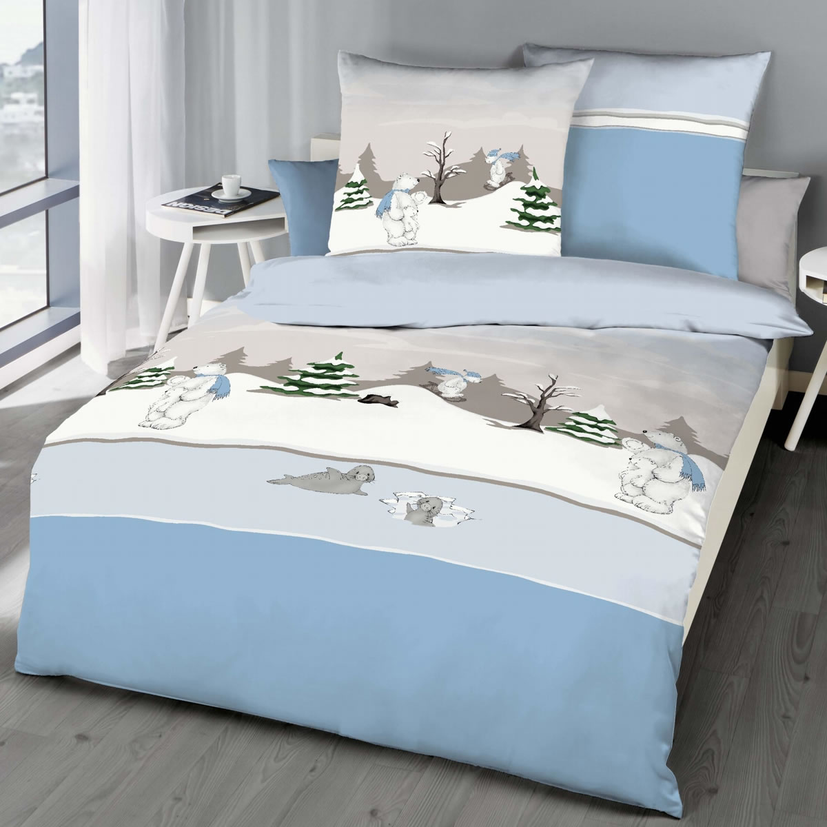 kaeppel biber bettw sche 135x200 cm design 62531 eisb r hellblau. Black Bedroom Furniture Sets. Home Design Ideas