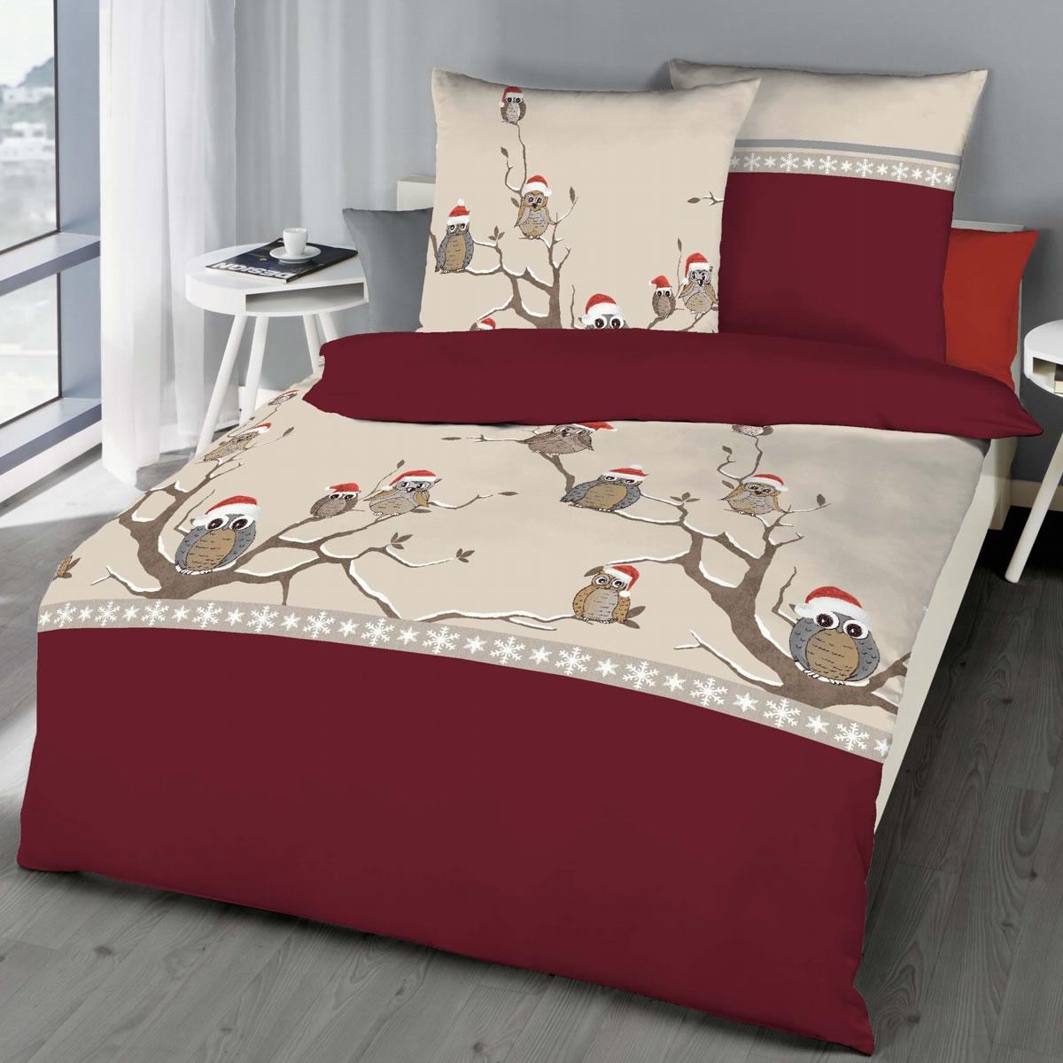 Kaeppel Biber Bettwäsche 135x200 Cm Design 6262 Wintereule Rot Weiß