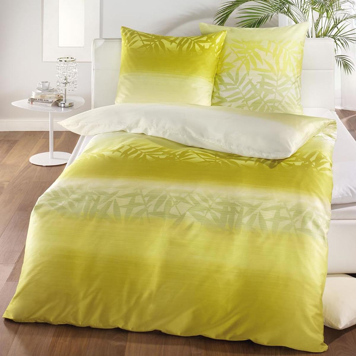 kaeppel mako satin bettw sche 135x200 cm sheer 6373 gr n natur farn. Black Bedroom Furniture Sets. Home Design Ideas