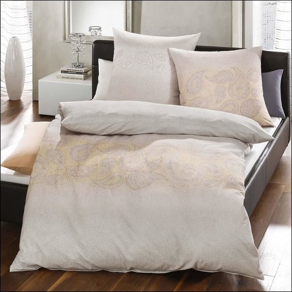 kaeppel biber bettw sche 155x220 cm design 64124 soraya gold paisley natur ecru ebay. Black Bedroom Furniture Sets. Home Design Ideas