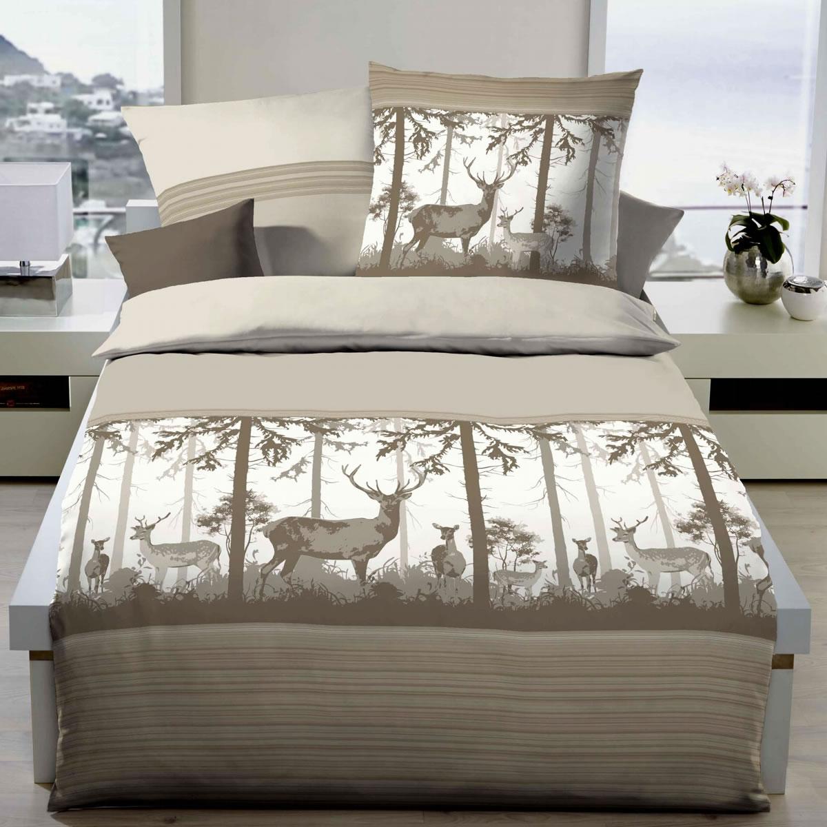kaeppel biber bettw sche 155x220 cm design 67836 deep forest mandel. Black Bedroom Furniture Sets. Home Design Ideas