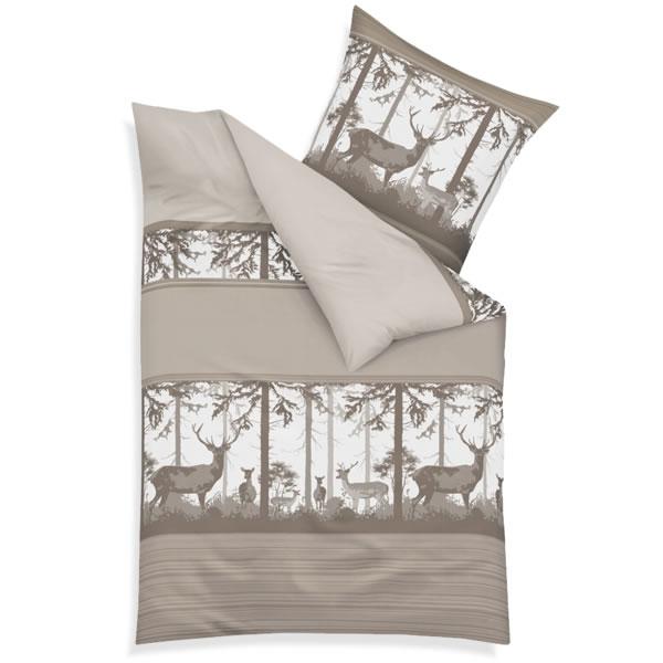 kaeppel biber bettw sche 155x220 cm 67836 deep forest mandel wald hirsch b ume ebay. Black Bedroom Furniture Sets. Home Design Ideas