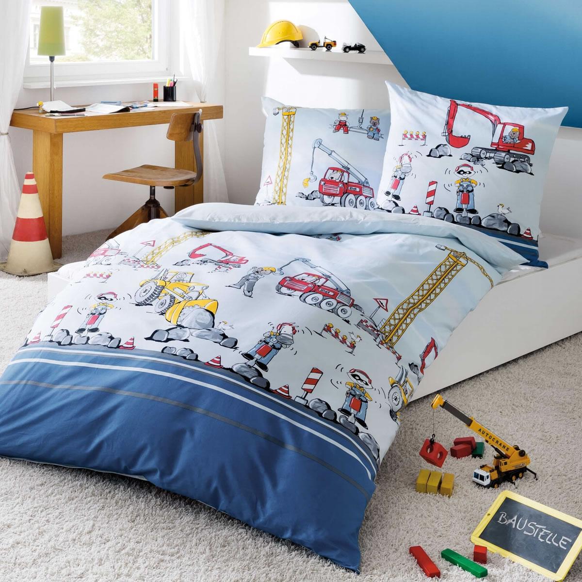 Kaeppel Biber Kinderbettwäsche 135x200 Cm Design 6801 Baustelle Blau