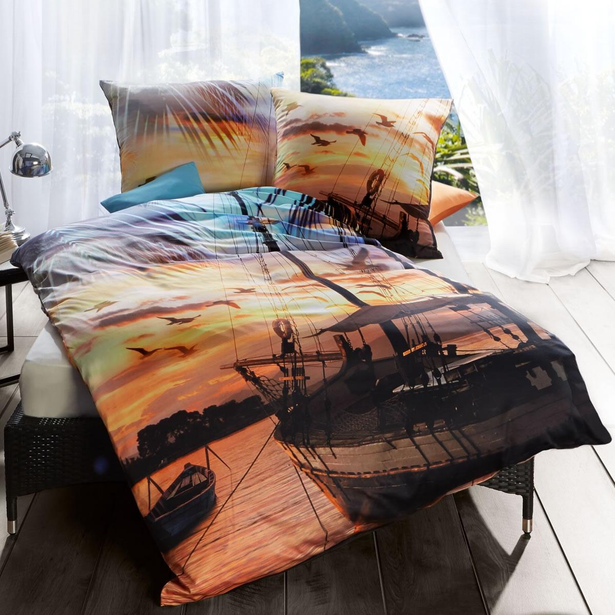 Kaeppel Digitaldruck Mako Satin Bettwäsche 135x200 Cm 75664 Sail Away