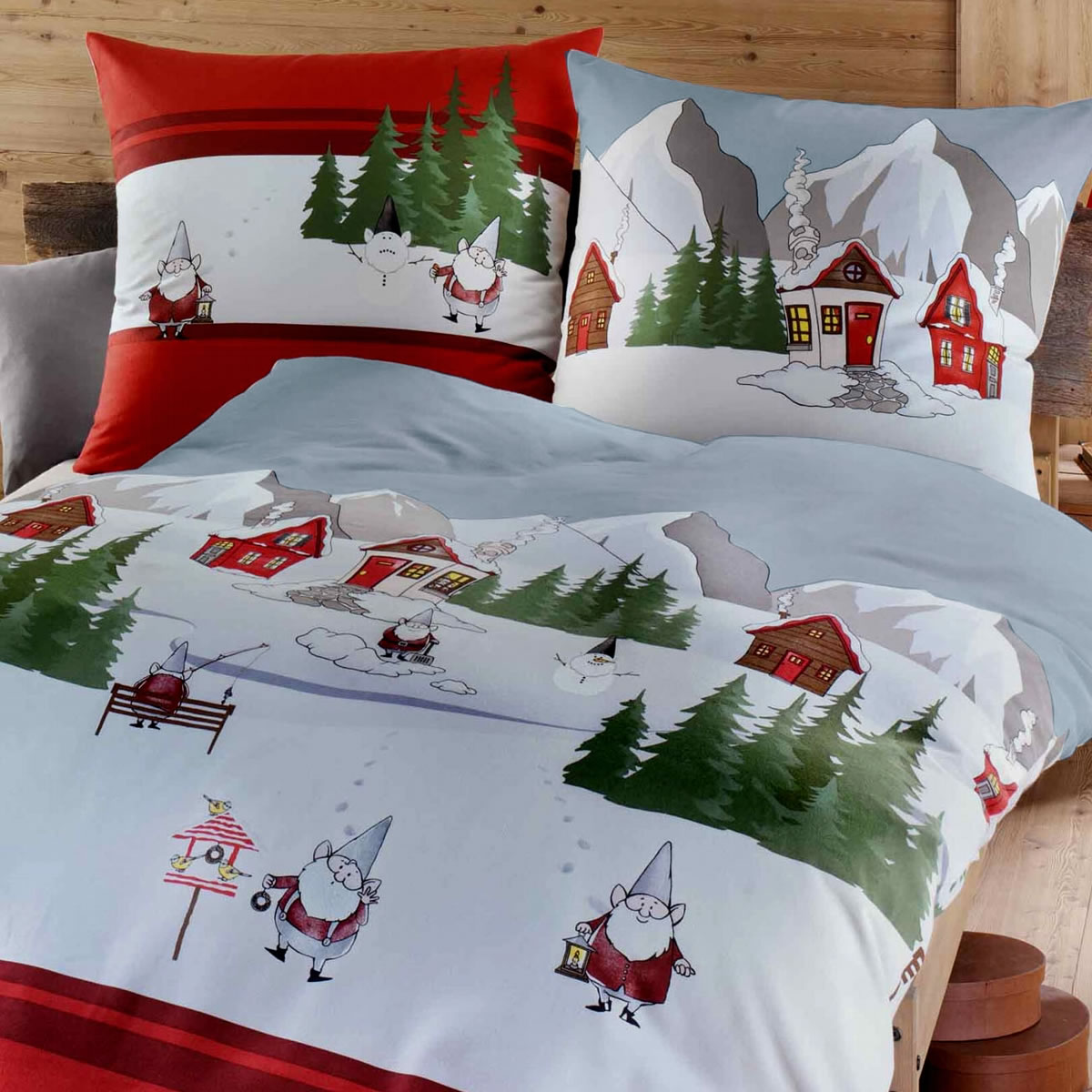 kaeppel biber bettw sche 135x200 cm design 7652 wichtel rot winter. Black Bedroom Furniture Sets. Home Design Ideas