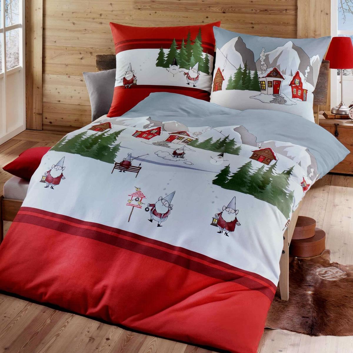 Kaeppel Biber Bettwäsche 135x200 Cm Design 7652 Wichtel Rot Winter