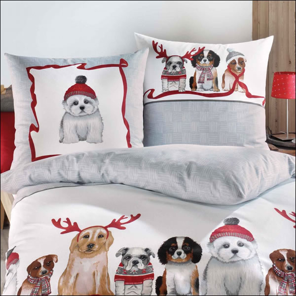 kaeppel biber bettw sche 135x200 cm 76669 dogs hunde grau wei welpen winter ebay. Black Bedroom Furniture Sets. Home Design Ideas