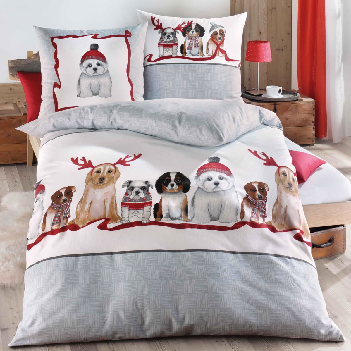 Kaeppel Biber Bettwäsche 155x220 Cm Design 76669 Dogs Grau Winter