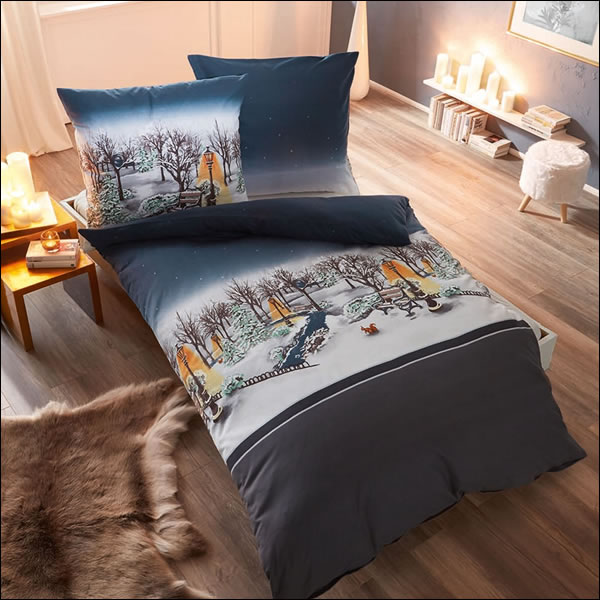 kaeppel fein biber bettw sche 135x200 central park 79619 anthrazit schnee winter ebay. Black Bedroom Furniture Sets. Home Design Ideas