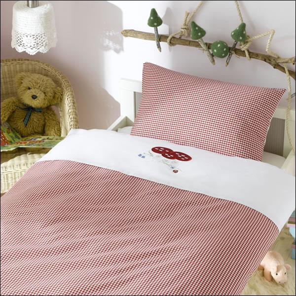 lorena maco batist wende kinder bettw sche rot wei kariert mit stickerei pilz ebay. Black Bedroom Furniture Sets. Home Design Ideas