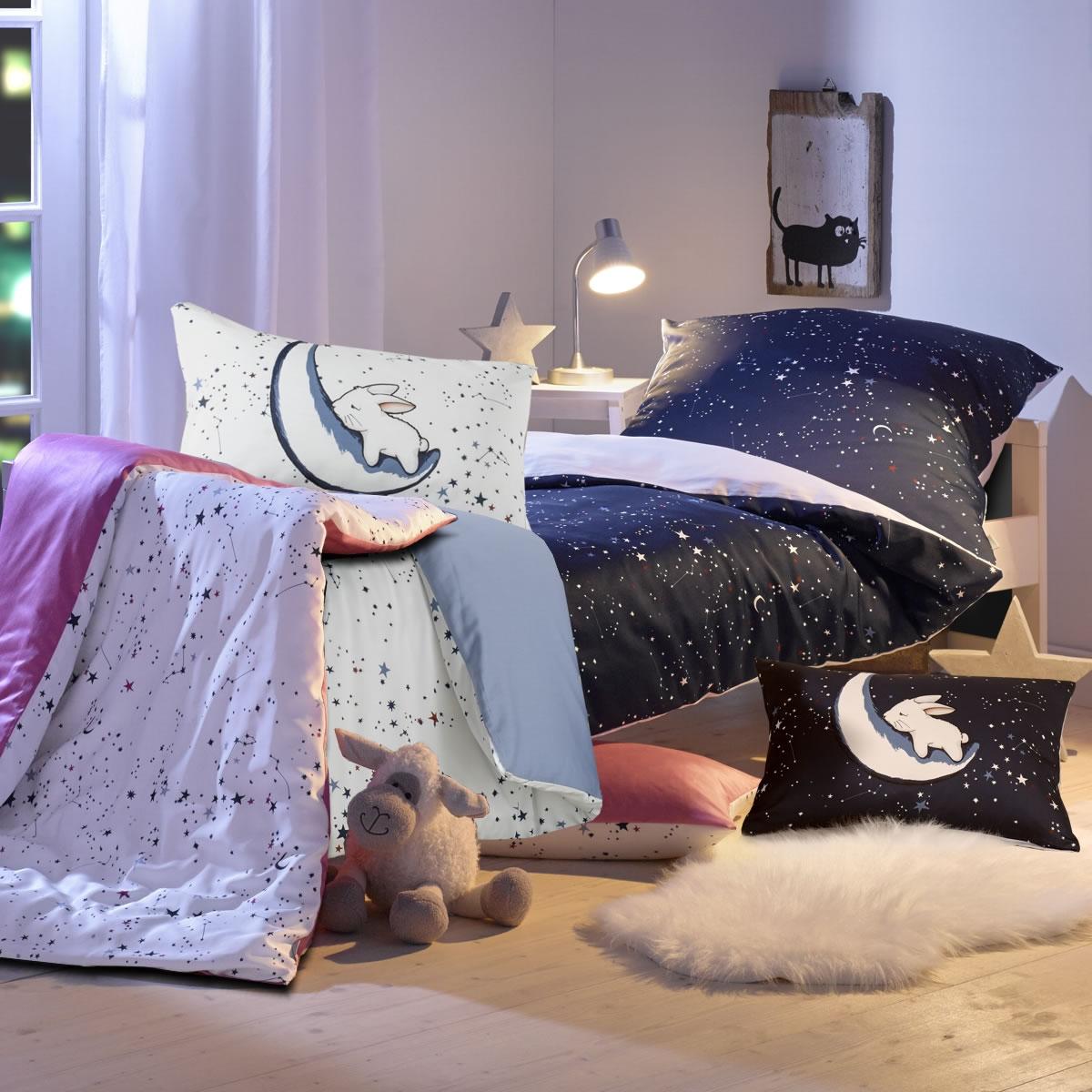 Lorenchen Mako Satin Kinder Bettwäsche 457 Luna O 458 Sternenhimmel