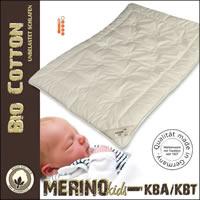 Merino Winterdecke Kinderdecke Duo Decke kbA Baumwoll Bezug  kbT Wolle